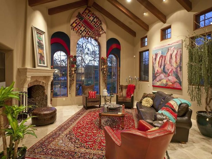 Stucco walls make this a distinctly Southwest living room.