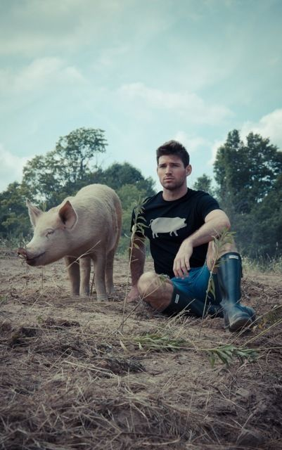 "Image of *LIMITED EDITION* GUYS JOHN BARTLETT + FARM SANCTUARY ""AMBASSADOR COLLECTION"" PIG TEE: Animal Affinity, Pig Tee, Guy, Bartlett Tees, Farm Chore S, Adult Pigs"