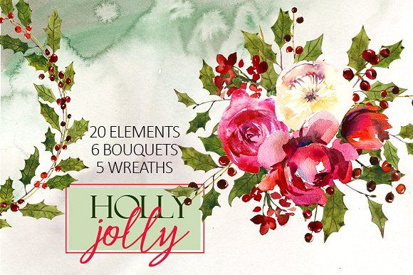 Holly Steams Christmas Watercolors by whiteheartdesign on @creativemarket