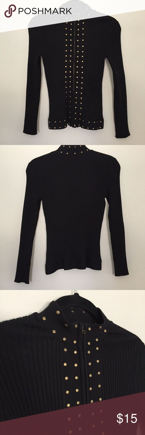 Black zip up cardigan Black ribbed zip up cardigan with gold studs. It says it's a petite large but I feel it runs small for a large. Sweaters Cardigans