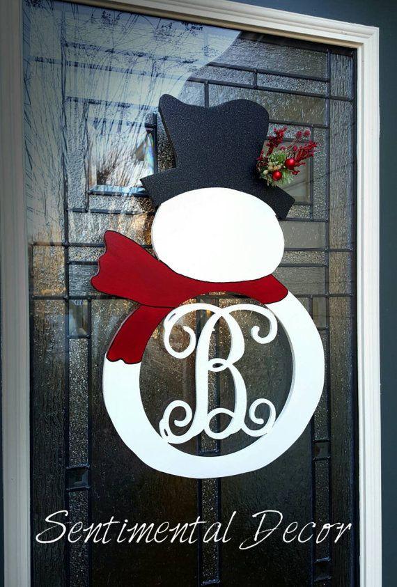 Large Painted Snowman Door MonogramChristmas by SentimentalDecor