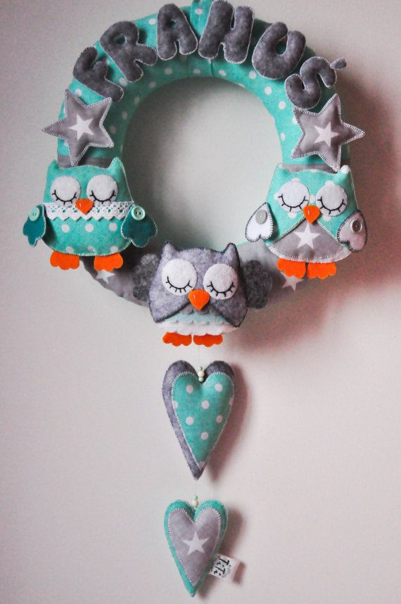 Personalized name garland / wreath felt owls wall decor by TiTics