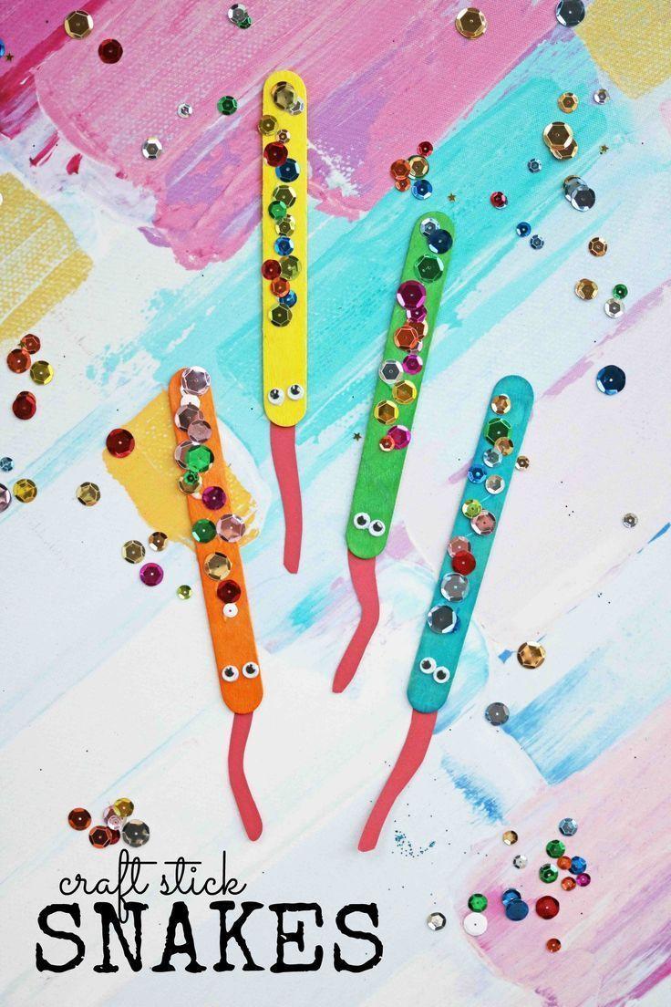 Sparkly Craft Stick Snakes - Kid Craft Idea