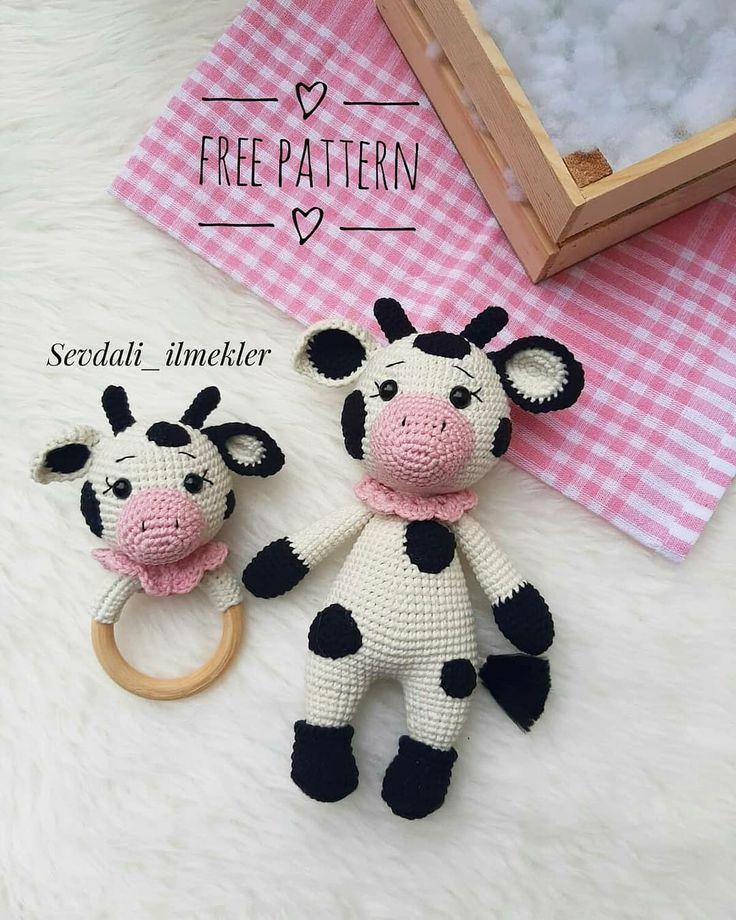 Crochet Cow, Crochet Baby Toys, Crochet Patterns Amigurumi, Crochet Crafts, Crochet Dolls, Crochet Projects, Crocheted Toys, Häkelanleitung Baby, Cow Pattern