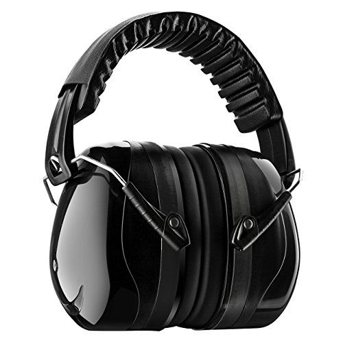 """Homitt Sound Ear Muffs Hearing Protection Ear Defenders with Noise Cancelling Technology for Shooting, Hunting, Working or Construction – Black  Noise cancelling ear muffs with 34dB SNR Technology offers you a best hearing protection environment. And the Homitt ear muffs were certificated by US ANSI S3.19 and EU CE EN352.1.  Adjustable padded head band and 360 degree swivel ear cups with double shell cups and soft foam fit adults to kids. Each ear cover has just over 0.5"""" thick memory ..."""