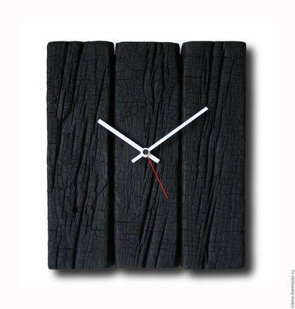 Burnt wood clock / Часы для дома ручной работы. Ярмарка Мастеров - ручная работа. Купить Часы из горелого дерева. Handmade. Черный, деревянные ча