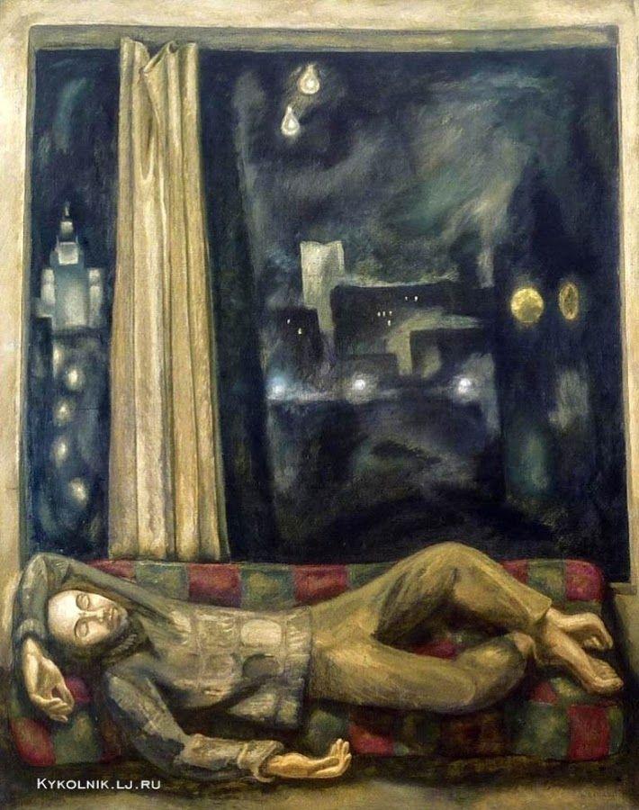 "Popkov Victor (USSR, 1932-1974) Self portrait ""Work is over"", 1970.  1970 год Попков Виктор Ефимович (Россия, 1932-1974) «Работа окончена»."