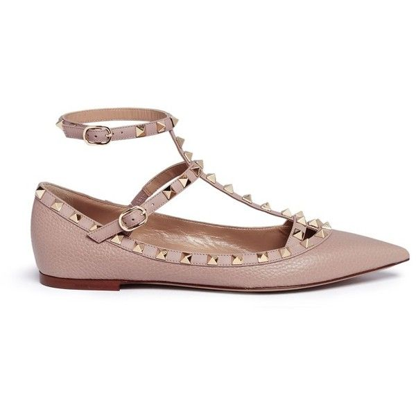 Valentino 'Rockstud' caged calfskin leather skimmer flats ($1,200) ❤ liked on Polyvore featuring shoes, flats, neutral, ballet pumps, ballet flats, flat shoes, flat pumps and gladiator shoes