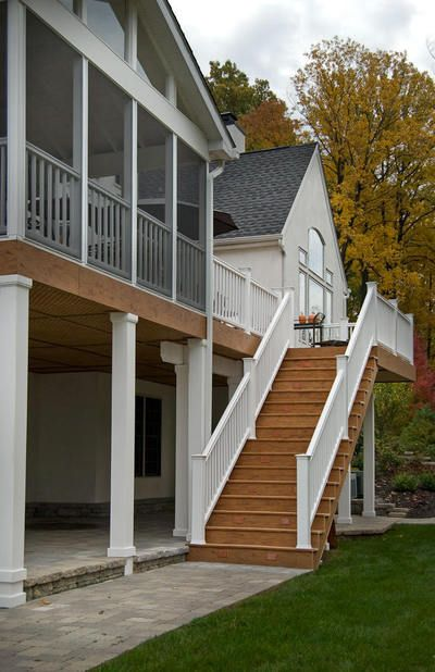 61 best screened porch images on pinterest for Second story decks with stairs