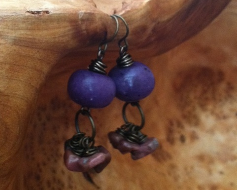 Antique Gold Wire Wrapped Earrings with Purple  and Pink Stone Bead It is said if you surround yourself with purple you will have peace of mind.