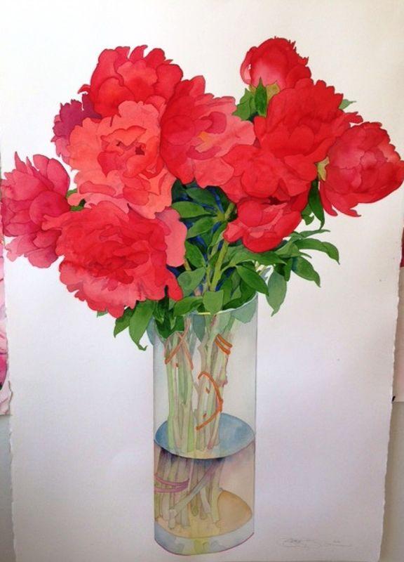 Gary Bukovnik - Galerie Thomas Reynolds - San Francisco - Grand vase de pivoines - 153 cm x 102 cm