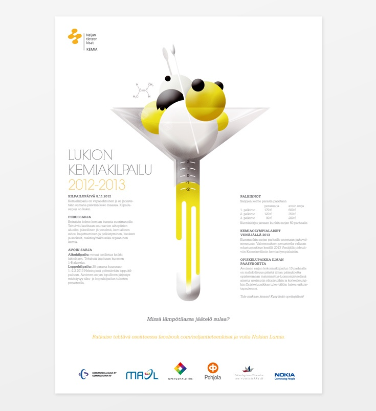 Poster series design for The Finnish Association for Teachers of Mathematics, Physics, Chemistry and Informatics MAOL ry