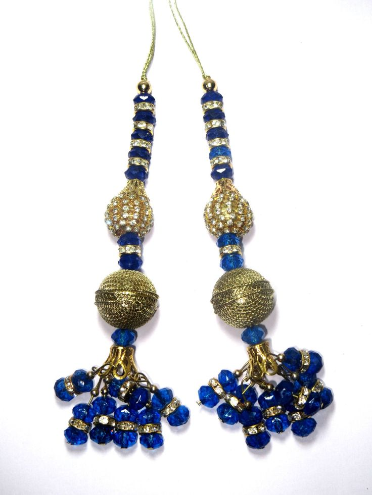 Royal Blue and Gold Handcrafted Glass Bead Traditional Tassel / Embellishment / Decoration / Latkan Supply 1 pair India by CRAFTYJAIPUR on Etsy