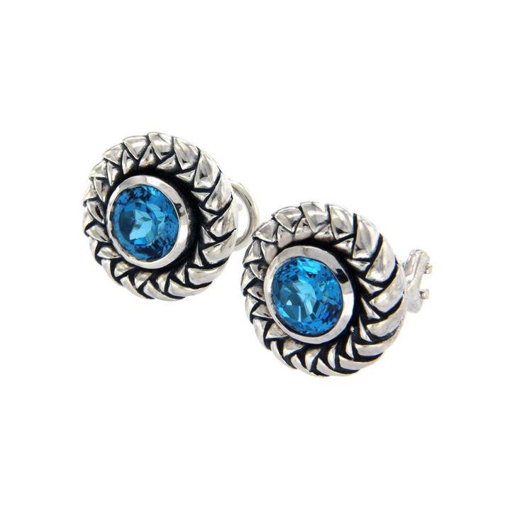 Authentic Scott Kay 925 Sterling Silver Blue Topaz Earrings »U21 #ScottKay #Stud