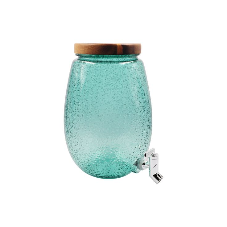Seeded Plastic Beverage Dispenser with Wood Top - Green - Threshold