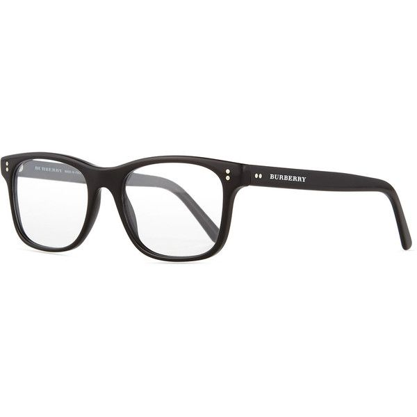 Burberry Square Optical Frames (3,860 MXN) ❤ liked on Polyvore featuring accessories, eyewear, eyeglasses, black, black clear glasses, black glasses, square glasses, square eyeglasses and clear glasses