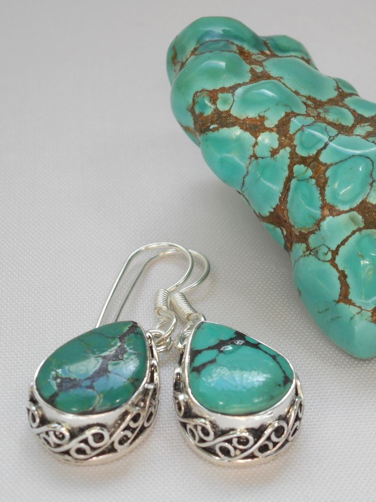 Tibetan Turquoise Earring Set 1 Turquoise Coral