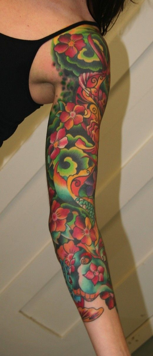 tattoos for women arm sleeve tattoo designs for women 2011 12 pieway love the colors. Black Bedroom Furniture Sets. Home Design Ideas