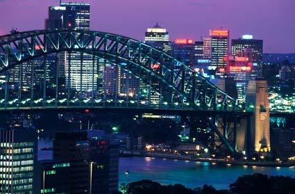 Sydney Harbour Bridge at night during the city's bid for the 2000 Olympic Games, 1993. NAA: A6135, K28/9/93/40