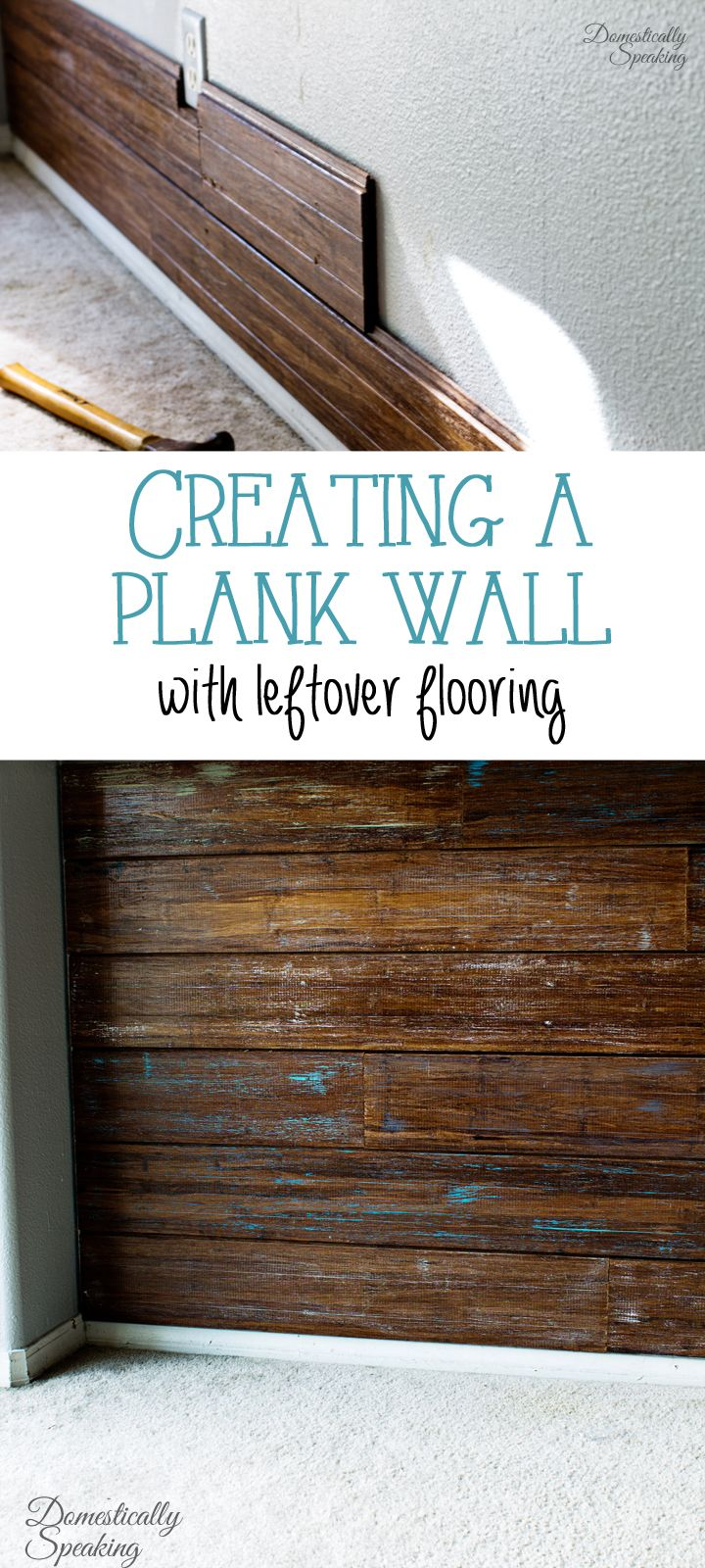 Creating a Plank Wall with Leftover Flooring Love the dry brush painting to add a pop of color!
