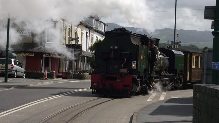 Welsh Highland Railway train pulls onto the High Street in Porthmadog on its way to Caernarfon las September.