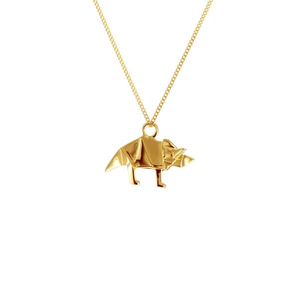 Mini Triceratop Gold   Origami Jewellery   Wolf & Badger