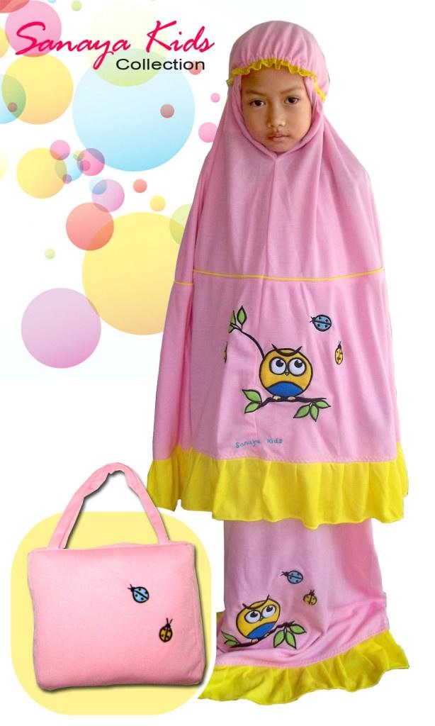 mukena owl pink