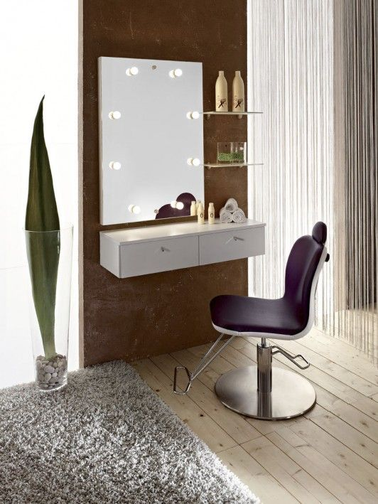 Furniture and Accessories. Best Dressing Table and Vanity in Various Design Styles. Contemporary Minimalist Dresser Design with Wall Mount White Melamine 2 Drawers and Illuminated Make-Up Mirror Completed with Mounted Glass Shelves and Fancy Classic Style Purple Leather Dressing Table Swivel Chair