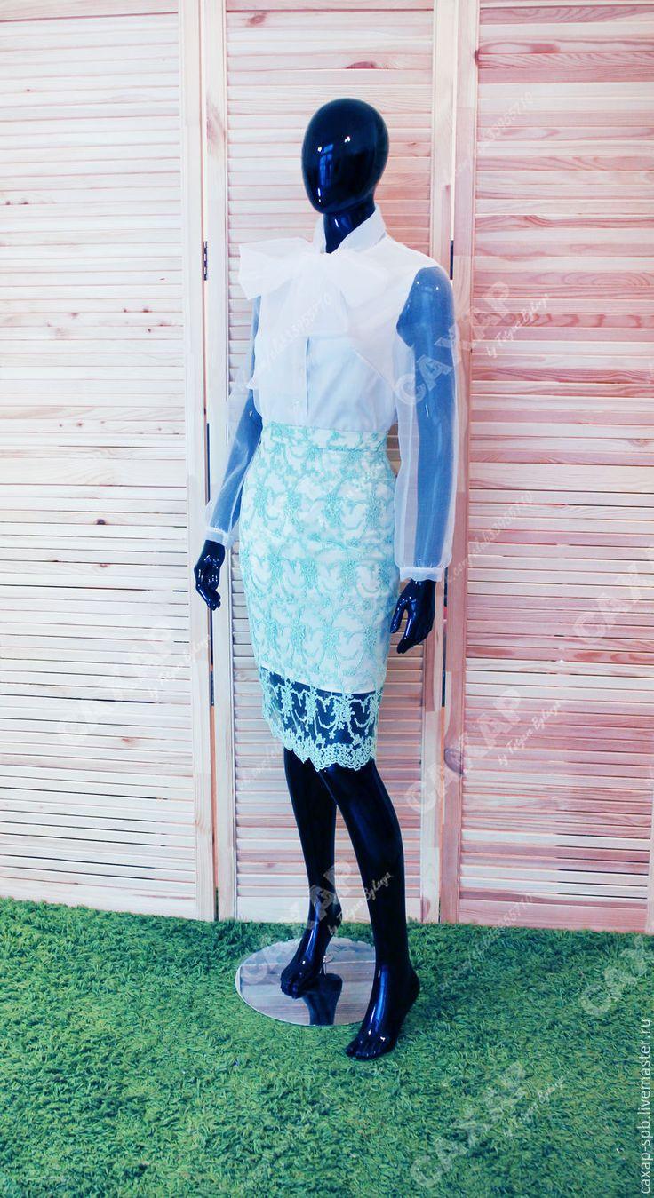 """Купить """"Симфония"""" кружевная мятная юбка-карандаш и белая блуза - мятный, в горошек, платье на свадьбу"""