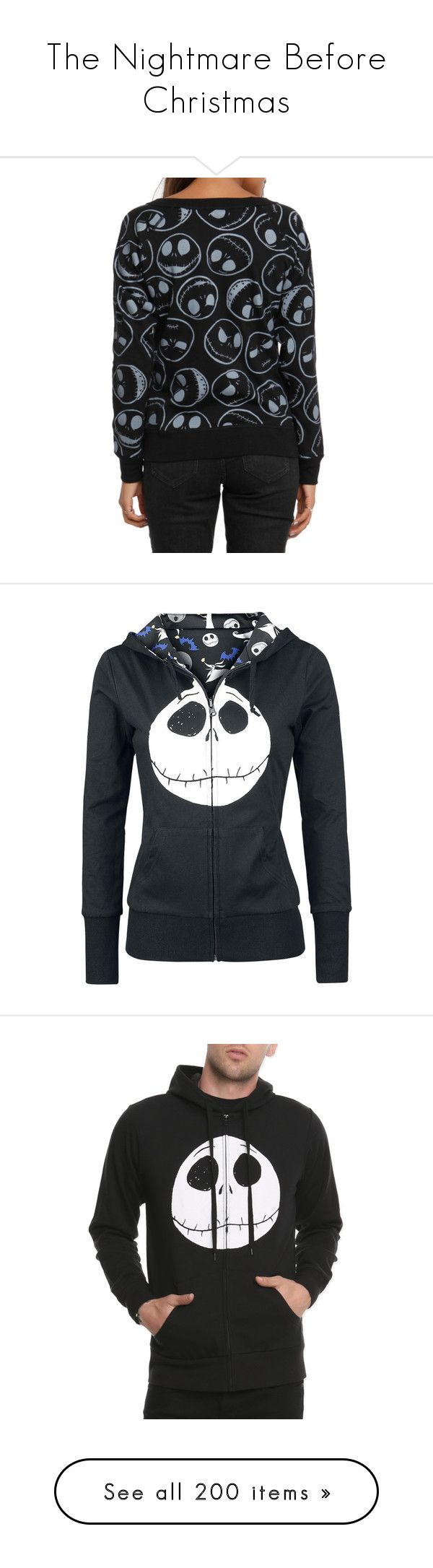 """""""The Nightmare Before Christmas"""" by penguinluv-er ❤ liked on Polyvore featuring words, disney, fillers, backgrounds, text, quotes, phrase, saying, hoodies and jackets"""