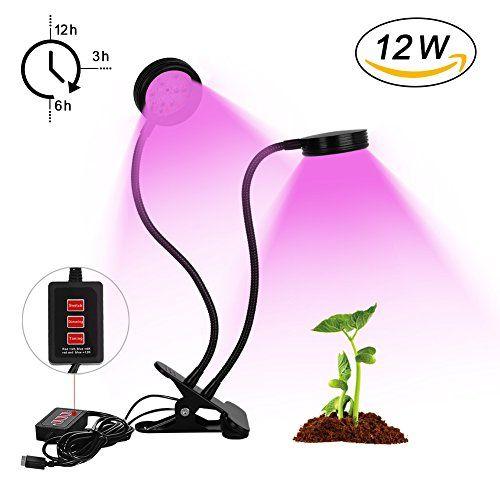 32LED 12W Lampe Croissance Plant, LED Plantes Horticole A Double Tête Rotation à 360 °, Lampe Horticole + 3 Modes Minuterie (3H / 6H /12H)…
