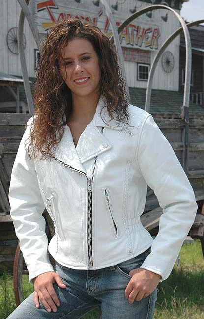 White Leather Jacket - Road Angel Motorcycle Jacket