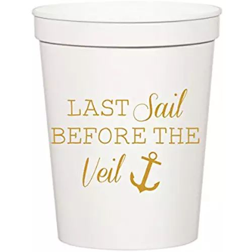 Last Sail Before the Veil, White and Metallic Gold Nautical Bachelorette Party Stadium Cups