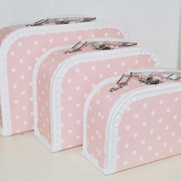 Härliga rosa väskor med vita prickar, perfekt till förvaring på barnrummet. Köp förvaring till barnrum hos Bestkids.se!