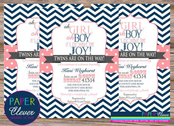Twins baby shower invitation girl & boy coral navy  by paperclever, $13.00 @MacKenzie Furlong i like this one more!
