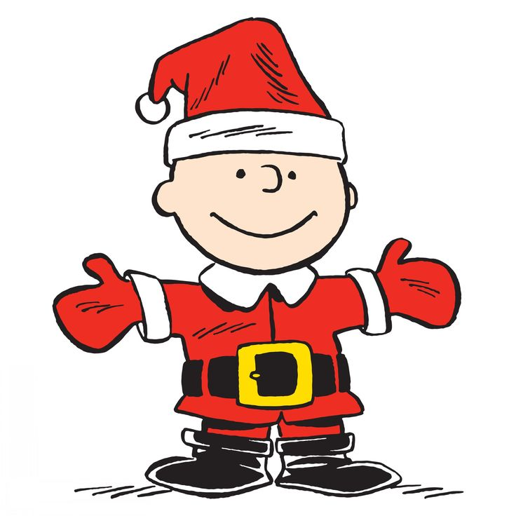 Description: Charlie Brown is Santa in this Peanuts art. In the colors of the…
