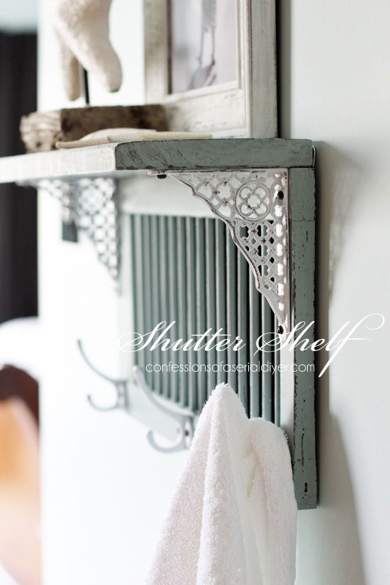 Shutter shelf, by Confessions of a Serial DIYer, featured on Funky Junk Interiors