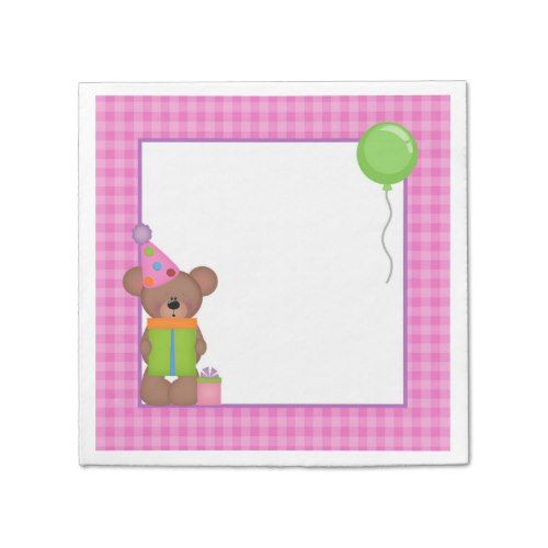 Pink and Purple Teddy Bear Birthday Napkins