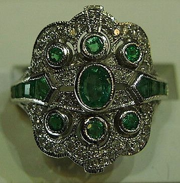 Jewellery-Ring-Vintage-9 carat white gold emerald and diamond ring