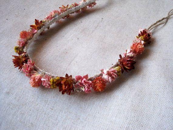 Dried flower hair wreath autumn flower headband by FlowerDecoupage