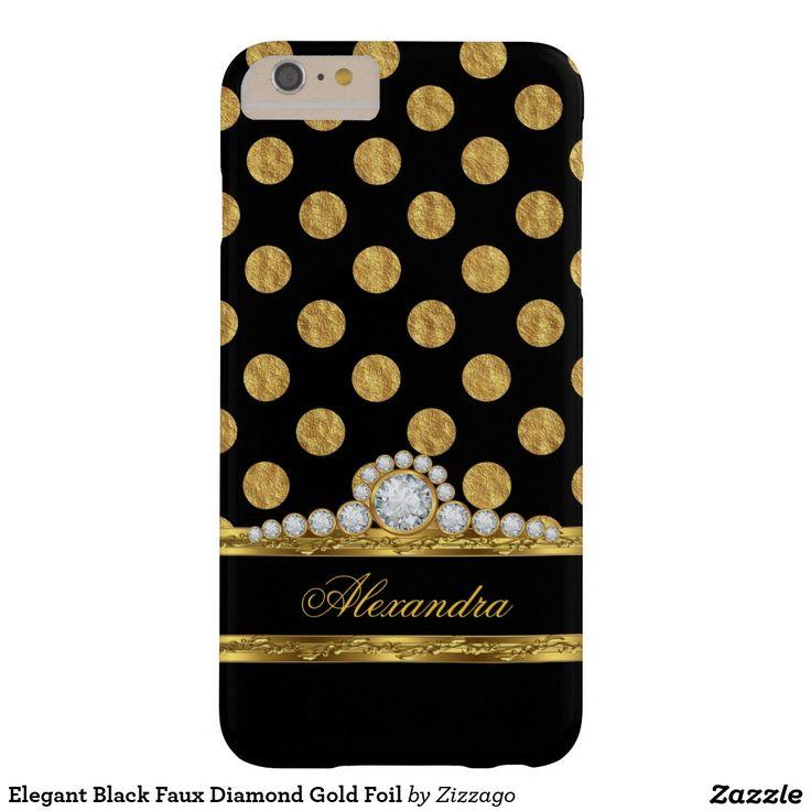 Elegant Black Faux Diamond Gold Foil Barely There iPhone 6 Plus Case