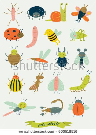 Cute insects in vector set
