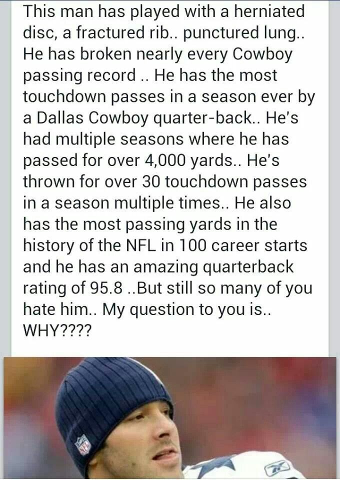 Baaaa this is great! Sure he's had a couple of bad interceptions (a lot) but give Romo a break. He'll get back with it!