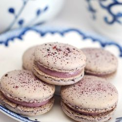 Blueberry macaroons filled with blueberry cream cheese