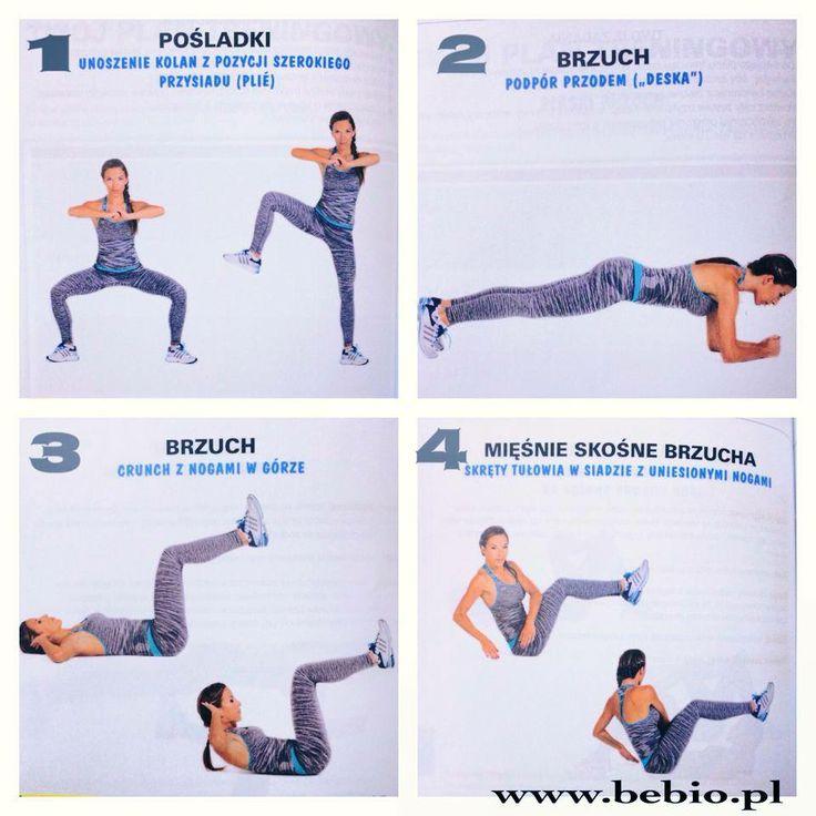Pomiędzy ćwiczeniami zrób po 20 pajacyków Ilośc powtórzeń ćwiczenia 1 - 20 x na każda stronę 2 - 30 sek - 1 min 3 - 50 powtórzeń 4 - po 30 skrętów na każda stronę   Całość powtórz x 3