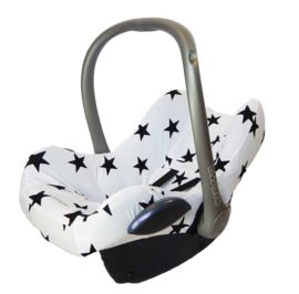 Mxi cosi hoes, carseatcover, autostoelhoes wit/zwarte ster. https://www.stoelsprookjes.nl/c-3077809/maxi-cosi/