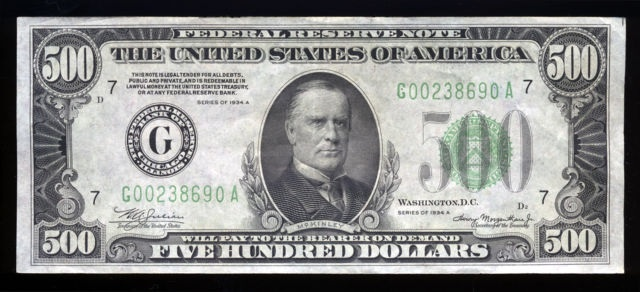 1934 500 Dollar Bill Cool Pictures Pinterest Dollar