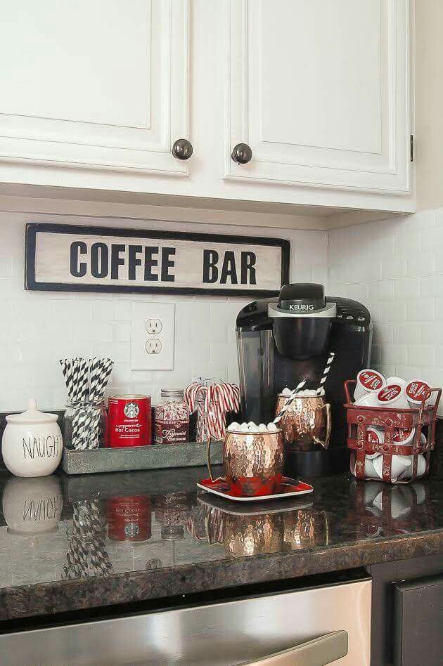 Coffee Bar in kitchen.  Love this idea.