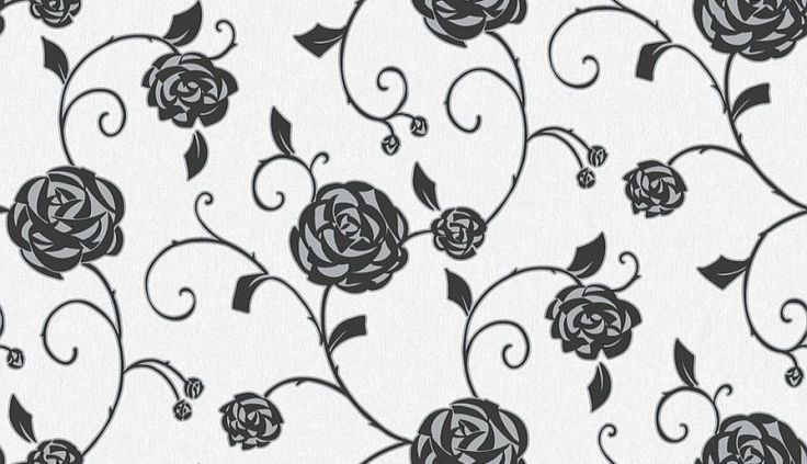 Gilt Rose (M0769) - Crown Wallpapers - A pretty Art Nouveau stylised rose trail design - with an angular textured trail. Shown here in charcoal black. Co-ordinating stripe available. Please request sample for colour match.