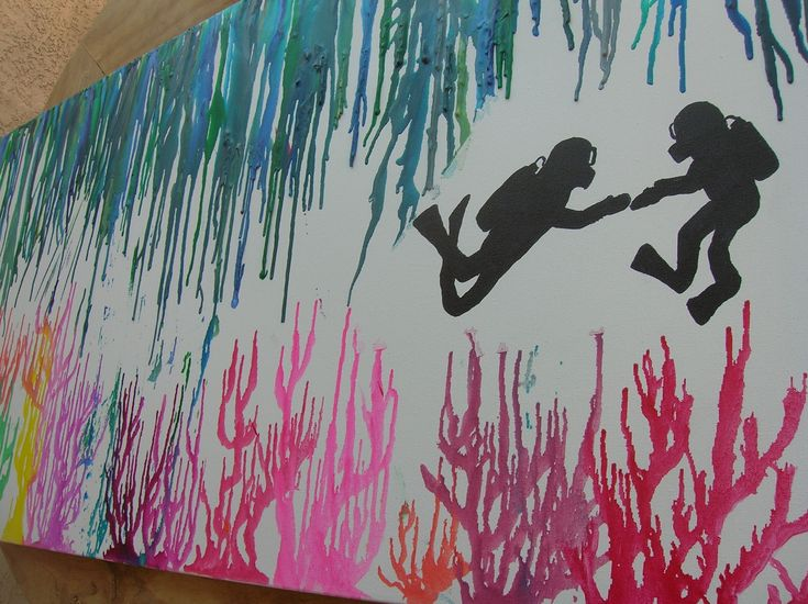 Melting crayon art. Love this idea! Going to have to make another one :)